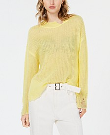 Destructed Mock-Neck Sweater