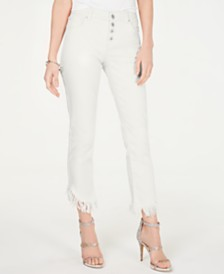 I.N.C. Curvy Fringe-Hem Button-Front Straight-Leg Jeans, Created for Macy's