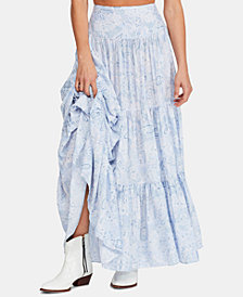 Free People Jeannette Printed Tiered Maxi Skirt