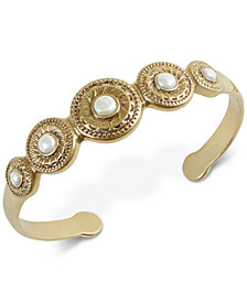 Lucky Brand Gold-Tone Imitation Pearl Etched Disc Cuff Bracelet