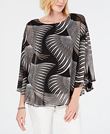 JM Collection Flutter-Sleeve Printed Mesh Top, Created for Macy's