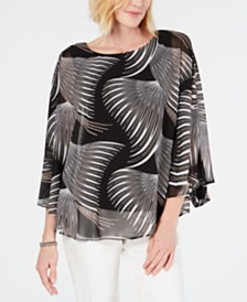 JM Collection Petite Printed Poncho Top, Created for Macy's