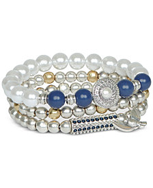 Lucky Brand Two-Tone 3-Pc. Set Bead & Imitation Pearl Stretch Bracelets