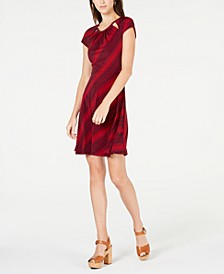 Petite Printed Cutout Dress