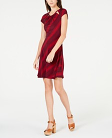 Michael Michael Kors Petite Printed Cutout Dress