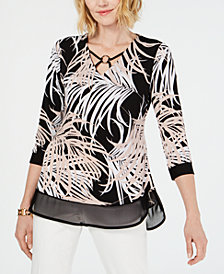 JM Collection Petite Crisscross-Detail Printed Top, Created for Macy's