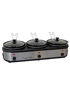 MegaChef Triple 2.5 Quart Slow Cooker and Buffet Server in Brushed Silver and Black Finish with 3 Ceramic Cooking Pots and Removable Lid Rests