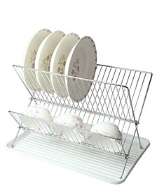 Wire Dish Rack with Plastic Tray - White