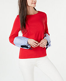 Tommy Hilfiger Long-Sleeve Tie-Cuff Top