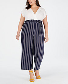 Monteau Trendy Plus Size Solid & Striped Jumpsuit