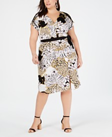 Monteau Trendy Plus Size Printed Wrap Dress