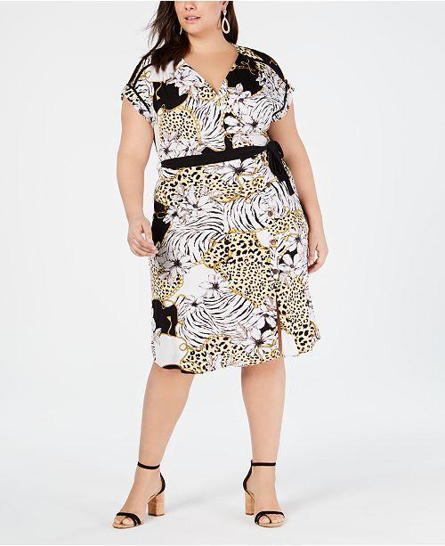2fc6aec95f9 Monteau Trendy Plus Size Printed Wrap Dress   Reviews - Trendy Plus ...