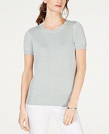 I.N.C. Metallic Short-Sleeve Sweater, Created for Macy's