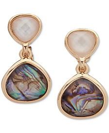 Anne Klein Gold-Tone Stone Drop E-Z Clip-on Earrings