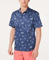 0c285c3d Tommy Bahama Men's Hammock Time Classic Fit Stretch Palm-Print Camp Shirt