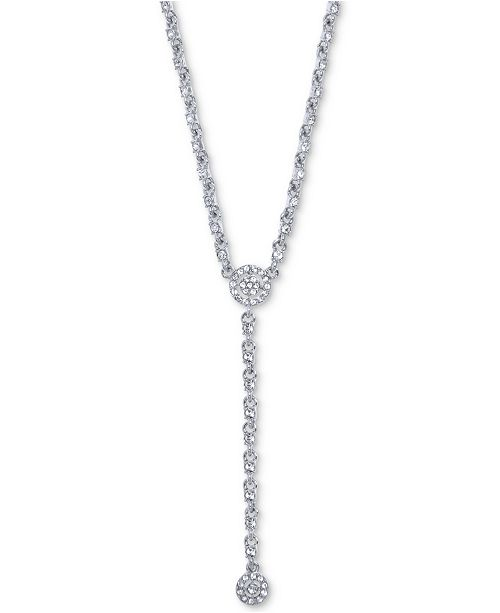 "Givenchy Crystal Halo Lariat Necklace, 16"" + 3"" extender"