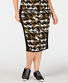 MICHAEL Michael Kors Plus Size Camo-Print Sweater Skirt