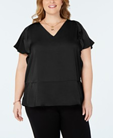 MICHAEL Michael Kors Plus Size Flutter-Sleeve Top