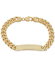 Curb Chain ID Bracelet in 18k Gold-Plated Sterling Silver