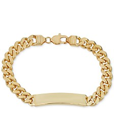 Cuban Chain ID Bracelet in 18k Gold-Plated Sterling Silver
