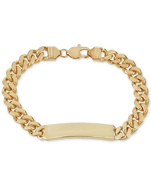 Macy's Cuban Chain ID Bracelet in 18k Gold-Plated Sterling Silver