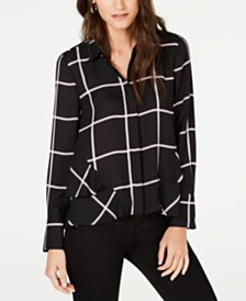 I.N.C. Window-Pane Button-Up Shirt, Created for Macy's