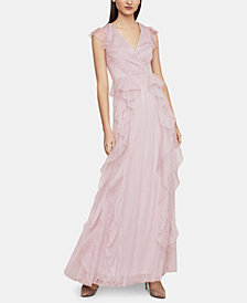 BCBGMAXAZRIA Ruffled Floral-Lace Gown