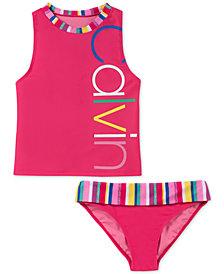 Calvin Klein Big Girls 2-Pc. Striped Tankini Swimsuit