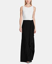 Lauren Ralph Lauren Two-Tone Jersey Gown