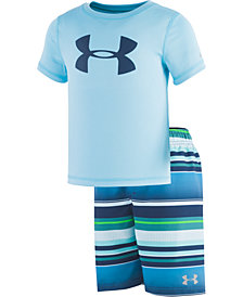 Under Armour Toddler & Little Boys 2-Pc. Rash Guard & Striped Swim Trunks Set