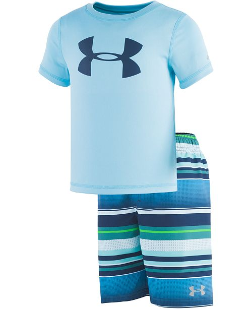 220ce82731a6 Under Armour Toddler   Little Boys 2-Pc. Rash Guard   Striped Swim Trunks