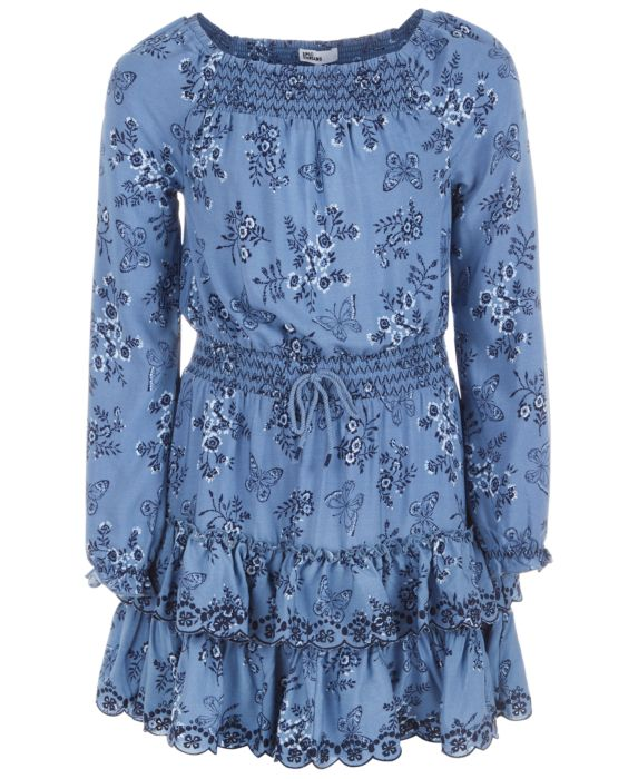 Epic Threads Big Girls Printed Drop Waist Dress, Blue, Size: L