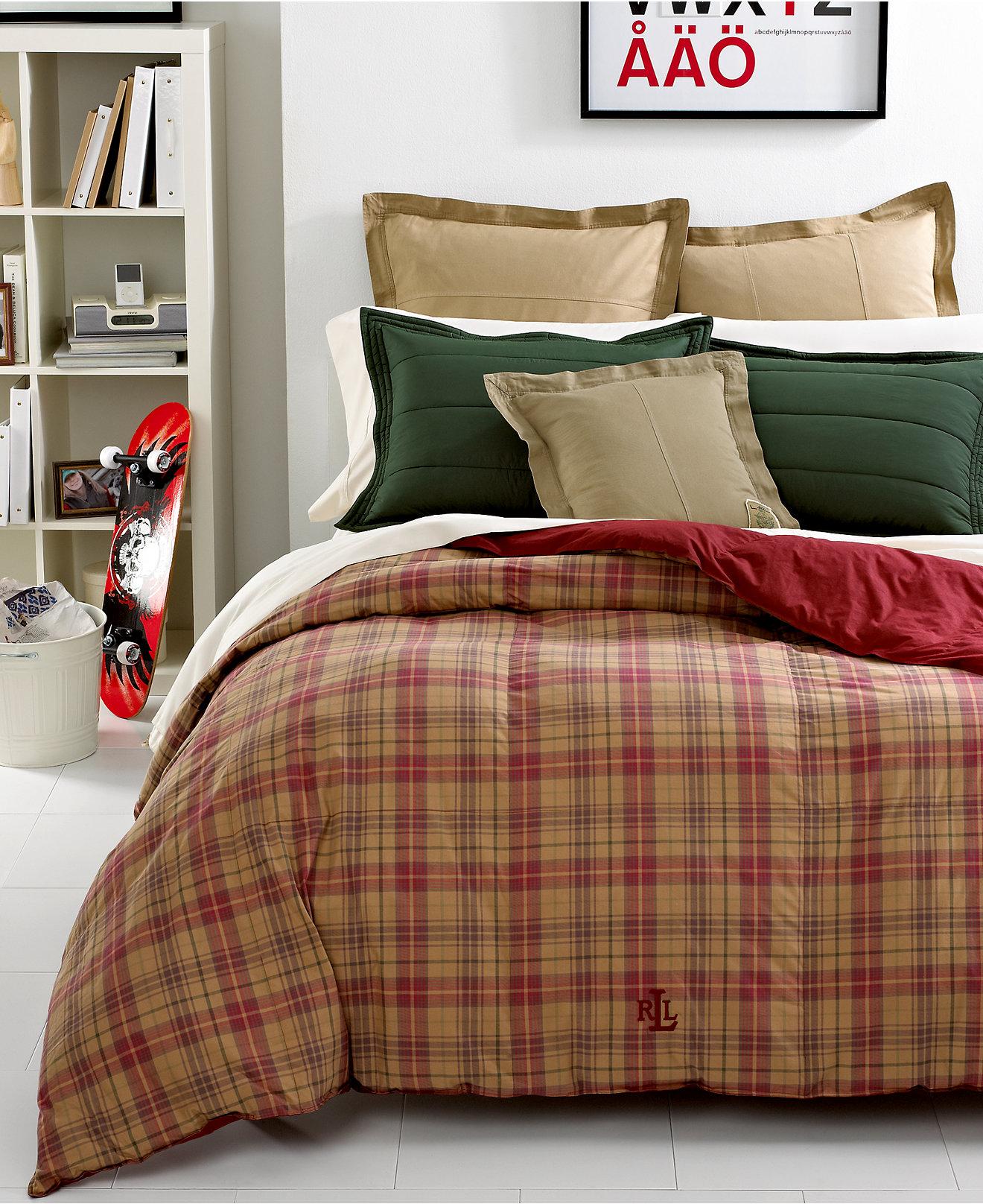 Red and brown plaid bedding - Lauren Ralph Lauren Kensington Lightweight Reversible Down Alternative Comforters Bedding Collections Bed Bath Macy S