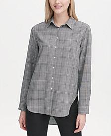 Calvin Klein Plaid Button-Up Tunic Top