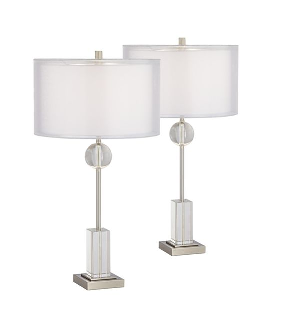 Pacific Coast Metal and Crystal Table Lamps - Set of 2