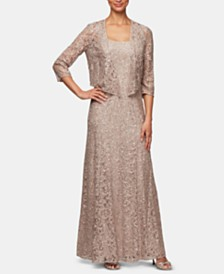 Alex Evenings Sequined Lace Gown & Jacket