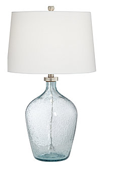 Pacific Coast Clear Blue Bubble Glass Table Lamp