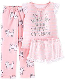 Carter's Little Girls 3-Pc. Cat Graphic Pajamas Sets