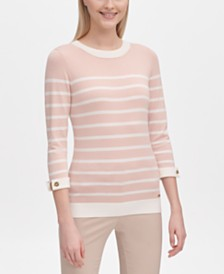 Calvin Klein Striped Cuffed-Sleeve Sweater
