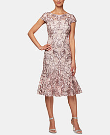 Alex Evenings Petite Embroidered Fit & Flare Dress