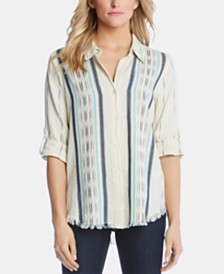 Karen Kane Cotton Striped Fringed-Hem Shirt