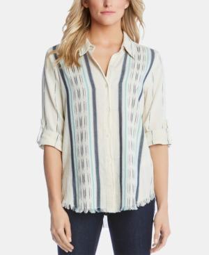 Karen Kane T-shirts COTTON STRIPED FRINGED-HEM SHIRT