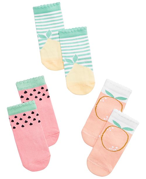 First Impressions Baby Boys or Girls 3-Pack Fruit Graphic Socks, Created for Macy's