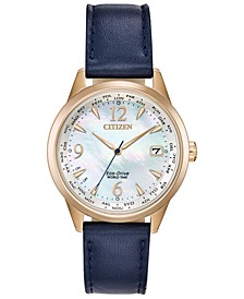 Eco-Drive Women's World Time (non A-T) Blue Leather Strap Watch 36mm