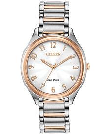 Citizen Eco-Drive Women's LTR Two-Tone Stainless Steel Bracelet Watch 35mm