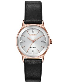 Citizen Eco-Drive Women's Axiom Black Leather Strap Watch 28mm