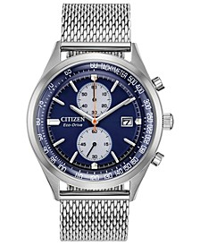 Eco-Drive Men's Chronograph Chandler Stainless Steel Mesh Bracelet Watch 43mm