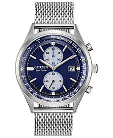 Citizen Eco-Drive Men's Chronograph Chandler Stainless Steel Mesh Bracelet Watch 43mm