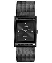 Citizen Eco-Drive Unisex Axiom Black Stainless Steel Mesh Bracelet Watch  26mm 081c4a5d22