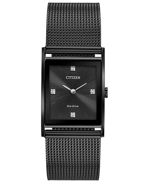 Citizen Eco-Drive Unisex Axiom Black Stainless Steel Mesh Bracelet Watch 26mm